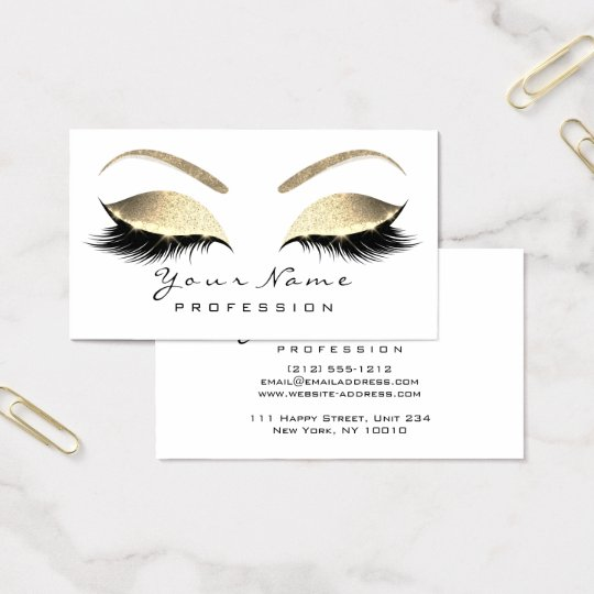 Makeup Eyebrow Eyes Lashes Glitter Gold White Business Card