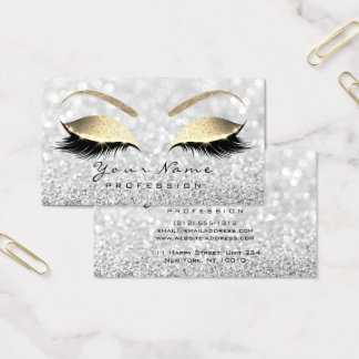 Makeup Eyebrow Eyes Lashes Glitter Gray Glam Business Card