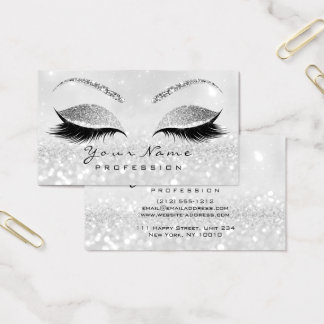 Makeup Eyebrow Eyes Lashes Glitter Gray Silver2 Business Card