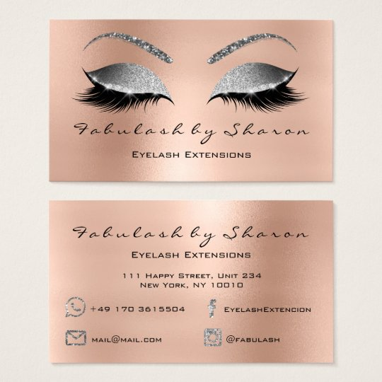 Makeup Eyebrow Lashes Glitter Diamond Pink Silver Business Card