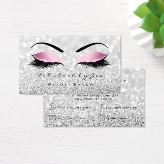Makeup Eyebrow Lashes Glitter Silver Bright Pink Business Card