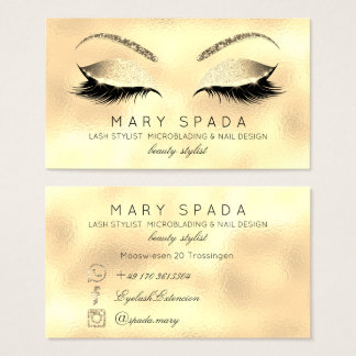 Makeup Eyebrows Lashes Glitter Glass Gold Custom Business Card
