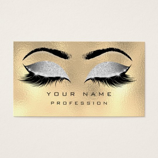 Makeup Eyebrows Lashes Glitter Metallic Gray Gold Business Card