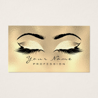 Makeup Eyebrows Lashes Glitter Metallic Lux Gold Business Card
