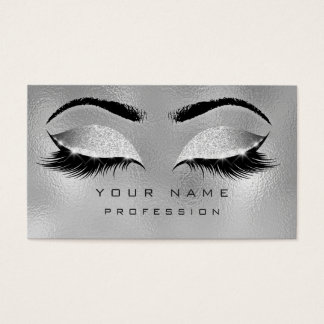 Makeup Eyebrows Lashes Glitter Metallic Silver Business Card