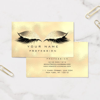 Makeup Eyes Lashes Glitter Glass Foxier Gold Business Card