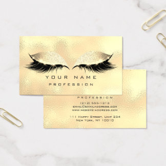 Makeup Eyes Lashes Glitter Glass Foxier Gold VIP Business Card