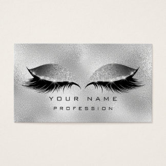Makeup Eyes Lashes Glitter Glass Silver Gray Business Card
