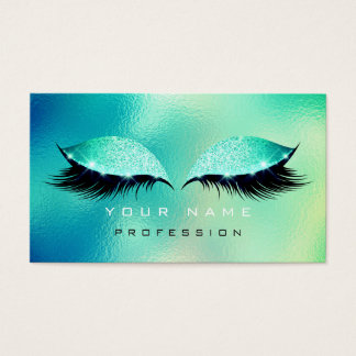 Makeup Eyes Lashes Glitter Glass Tiffany Aqua Blue Business Card