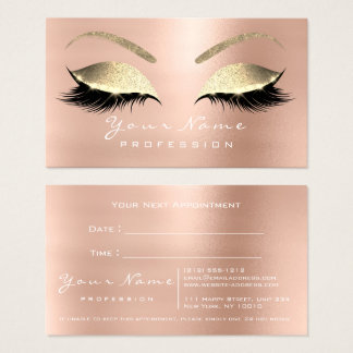 Makeup Eyes Lashes Glitter Rose Appointment Card