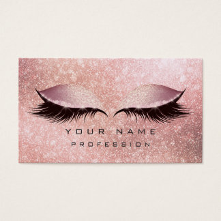 Makeup Eyes Lashes Glitter Rose Gold Blush Sparkly Business Card