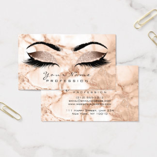 Makeup Eyes Lashes Glitter Rose Marble Eyebrow Lux Business Card