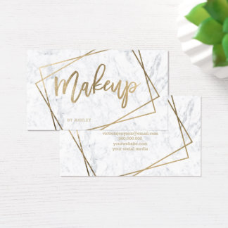 Makeup faux gold typography geometric marble business card