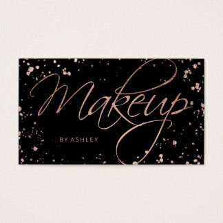 Makeup faux rose gold confetti splatters script business card