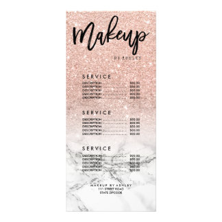 Makeup faux rose pink glitter marble price list rack card