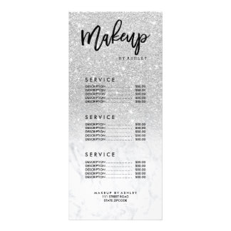 Makeup faux silver glitter marble price list rack card