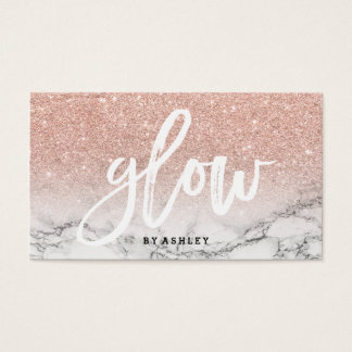 Makeup glow typography rose gold glitter marble business card