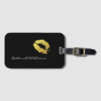 makeup gold lips travel luggage tag
