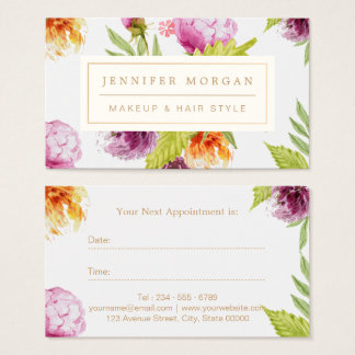 Makeup Hair Salon Watercolor Floral Appointment Business Card
