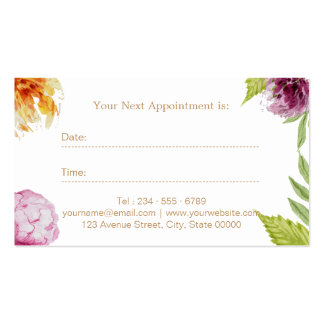 Makeup Hair Salon Watercolor Floral Appointment Pack Of Standard Business Cards