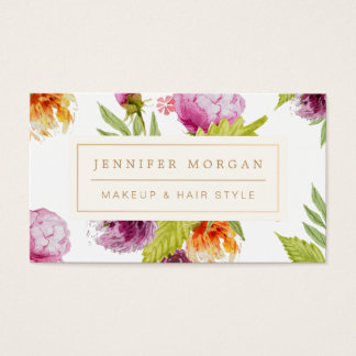 Makeup Hair Style Beauty Salon Feminine Floral Business Card