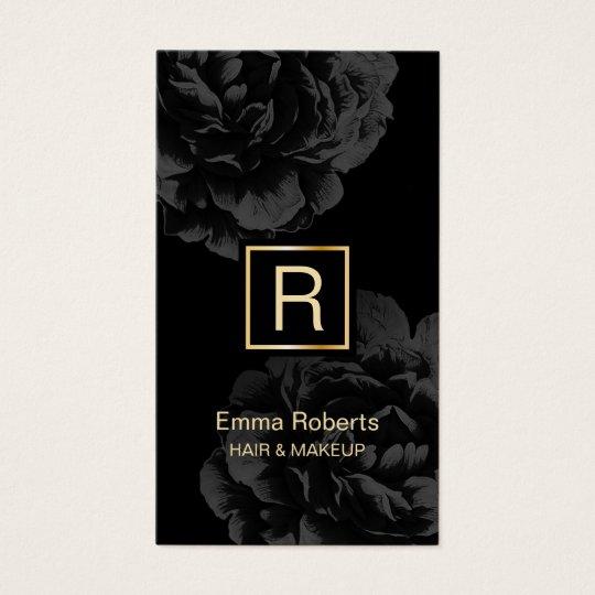 Makeup & Hair Stylist Monogram Elegant Dark Floral