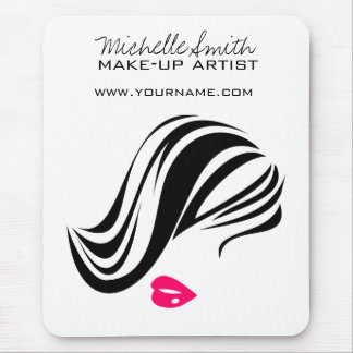 Makeup Icon Woman face in black white pink lips Mouse Mat