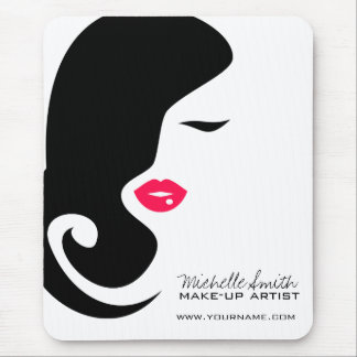 Makeup Icon Woman face in black white pink lips Mouse Pad