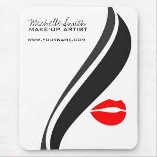 Makeup Icon Woman face in black white red lips Mouse Mat