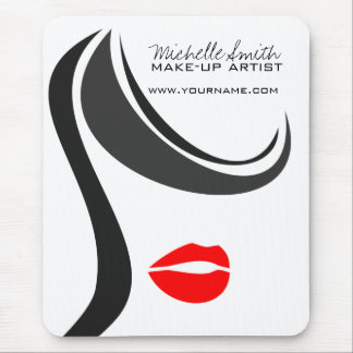 Makeup Icon Woman face in black white red lips Mouse Pad