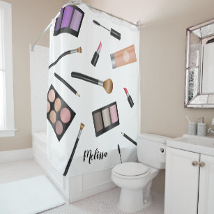 Makeup Illustration With Personalized Name Shower Curtain