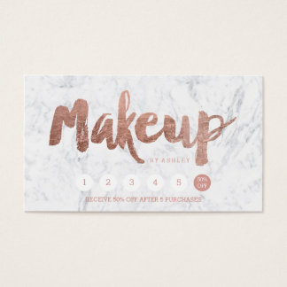 Makeup loyalty punch rose gold typography marble