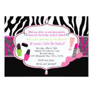 "Makeup Makeover Zebra Birthday Party Invitation 4.5"" X 6.25"" Invitation Card"