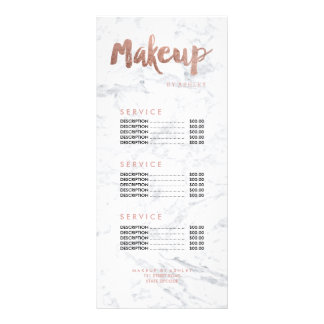 Makeup modern gold typography marble price list rack card