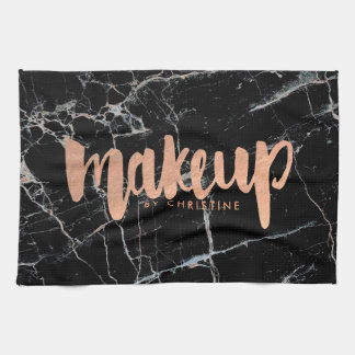 makeup rose gold foil script on black marble kitchen towels
