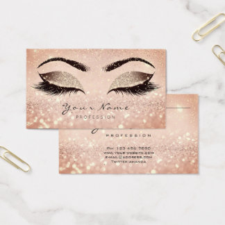 Makeup Rose Gold Lashes Extension Studio Glitter Business Card