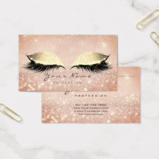 Makeup Rose Gold Lashes Extention Glitter Beauty Business