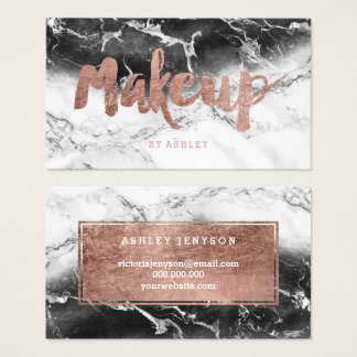 Makeup rose gold typography black white marble business card