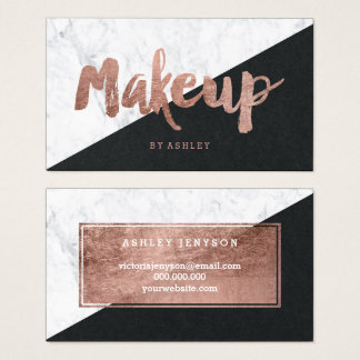 Makeup rose gold typography marble color block business card