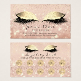 Makeup Rose Golden Lashes Extension Loyalty Card10 Business Card