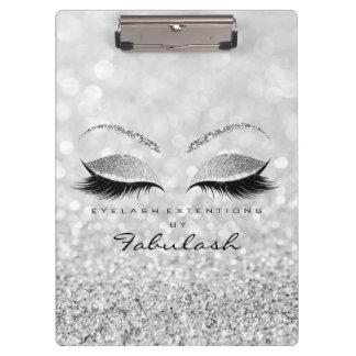Makeup Stylist Beauty Salon Lashes Glitter Silver Clipboard