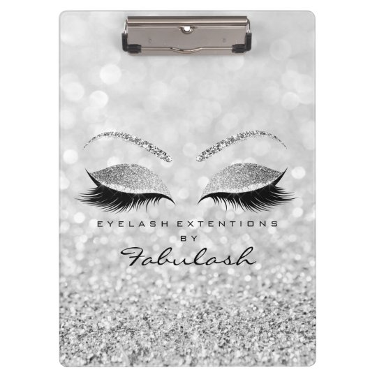 Makeup Stylist Beauty Salon Lashes Glitter Silver Clipboard