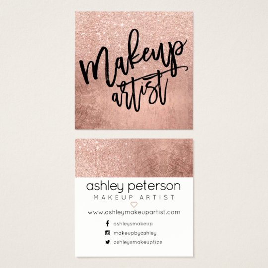 Makeup typography FAUX rose gold glitter foil Square