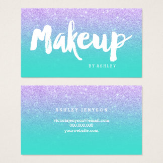 Makeup typography mermaid lavender turquoise business card
