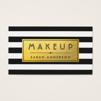 Makeup Typography Modern Gold Label Black Stripes Business Card