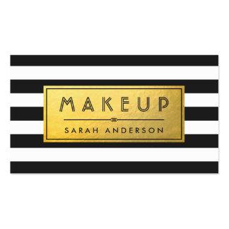Makeup Typography Modern Gold Label Black Stripes Pack Of Standard Business Cards