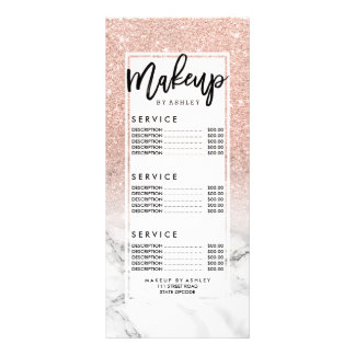 Makeup typography pink glitter marble price list rack card