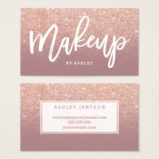 Makeup typography rose gold glitter dusty rose business card
