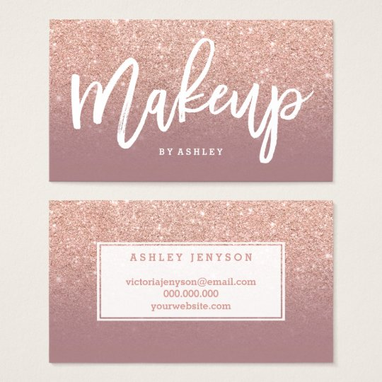Makeup typography rose gold glitter dusty rose business