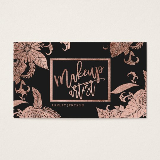 Makeup typography trendy faux rose gold floral business